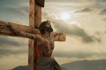3D Illustration of Jesus Christ on the cross  Wall mural