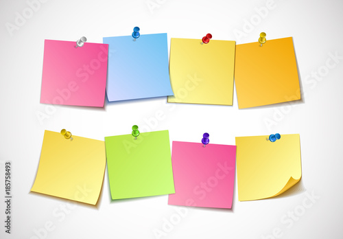 Different Colored Sheets Of Note Papers Collection. Curled Corner And Push  Pin. Template For  Note Paper Template