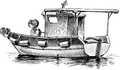 sketch of a small greek fishing boat