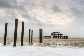 Atmospheric and Moody Long Exposure Photograph of the Ruins of the old Brighton West Pier at Brighton, East Sussex, England, UK