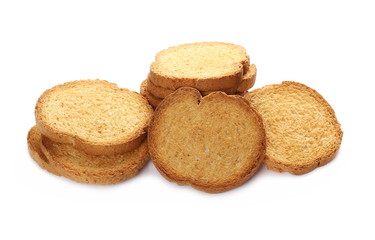 pile rusks with wholewheat flour, bread sliced isolated on white background