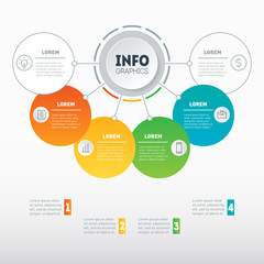 Business presentations concept with options. Web Template of a info chart, mindmap or diagram. Vector infographic of technology or education process. Part of the report with icons set.