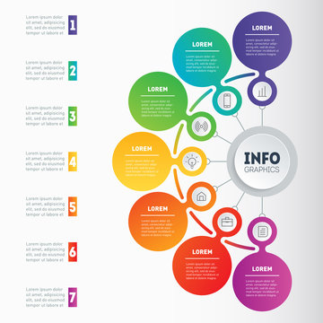 Vector infographics or mind map of technology or education process. Business presentation or infographic with 7 options. Web Template of a chart, mindmap or diagram with 7 steps.