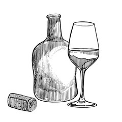Red wine bottle and glasses, sketch style vector illustration isolated on white background. Realistic hand drawing. Engraving style illustrations.