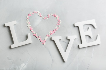 Valentines day holiday text word love with pink heart