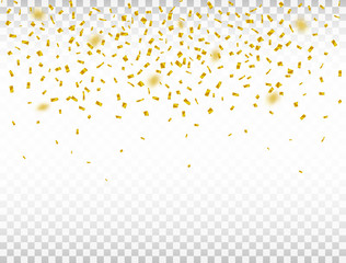 Golden confetti on transparent background. Defocused falling confetti. Celebration background. Vector illustration