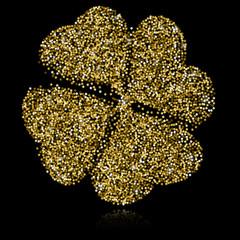 Gold Clover on Black Backgound. Vector Illustration. Star Confetti.