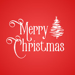 Merry Christmas inscription. Red background and white elements. Inked hand drawn tree