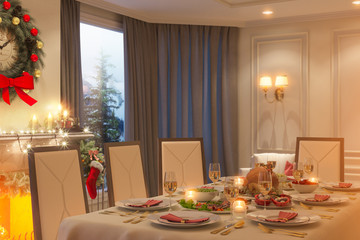 3d illustration of a Christmas family dinner table. An image for a postcard or a poster.