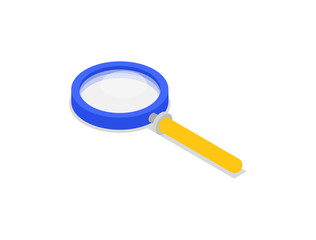 Magnifying glass isolated isometric icon. Search, analysis or research business concept, magnifier symbol vector illustration.