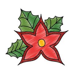 christmas flower decorative icon vector illustration design