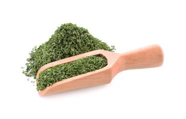 parsley leaf on white background