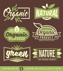 Set of raw, vegan, healthy food labels, stickers and design elements.