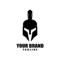 Spartan warrior helmet head logo design vector illustration for your brand identity