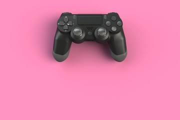 Computer game competition. Gaming concept. Black joystick isolated on pink background, 3D rendering