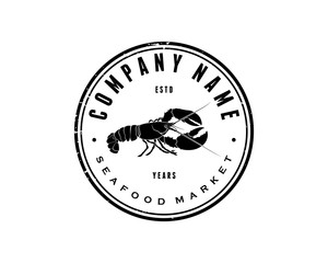 Black Lobster Food Vector Animal Circle Logo Company Symbol for Restaurant