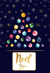 Christmas card with text in French Happy Christmas Tree made of Christmas balls on a dark background with snowflakes.