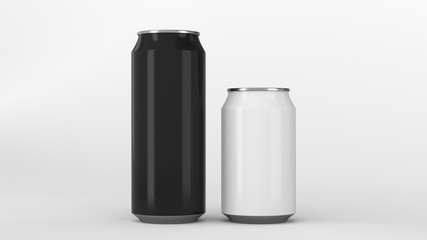 Big black and small white soda cans mockup