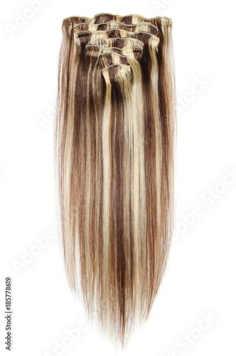 Clip In Straight Dark Brown Human Hair Extensions Mixed With Auburn