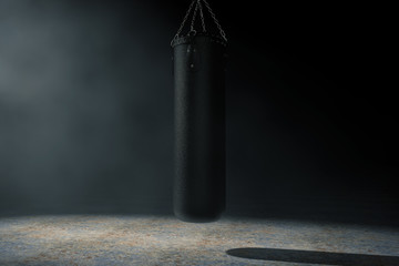 Black Leather Punching Bag for Boxing Training in the Volumetric Light. 3d Rendering