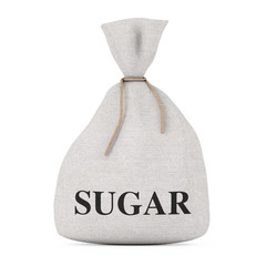 Tied Rustic Canvas Linen Sack or Bag with Sugar Sign. 3d Rendering
