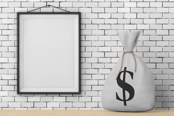 Tied Rustic Canvas Linen Money Sack or Money Bag with Dollar Sign in front of Brick Wall with Blank Frame. 3d Rendering