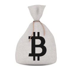 Tied Rustic Canvas Linen Money Sack or Money Bag with Bitcoin Sign. 3d Rendering