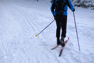 Cross-country skiing skating technique practiced by man