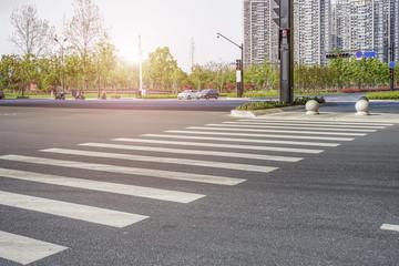 Sidewalk of urban road Fotomurales