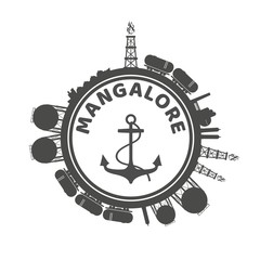Circle with cargo theme relative silhouettes. Design set of natural gas logistic. Objects located around circle with anchor in the center of them. Mangalore port name