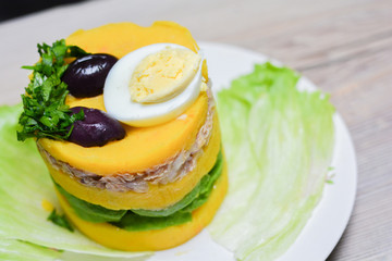 Causa - typical peruvian food.