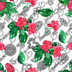 Seamless pattern with old keys and blooming flowers on white. Graphic design collection for antique decorations, card. Hand drawn vintage illustration with Valentine's Day concept