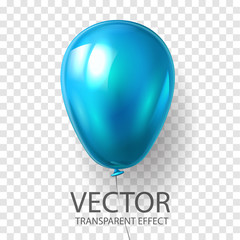 Realistic 3D render Blue balloon vector stock illustration isolated on transparent background. Glossy shine helium balloon in cyan color for Birthday celebration, party, grand opening, sale promotion