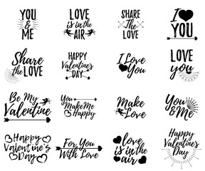Set of Love label. Font with Brush. Valentines day badges. Vector illustration icon