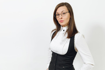 Beautiful happy caucasian young smiling brown-hair business woman in black suit, white shirt and glasses looking camera isolated on white background. Manager or worker. Copy space for advertisement.