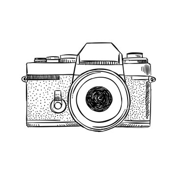 Hand drawn vintage camera illustration. Sketched photography equipment