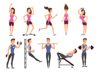 Fitness people vector cartoon characters set. Women and men athletes make exercises with sports equipment