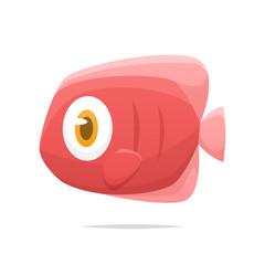 Cartoon pink fish vector