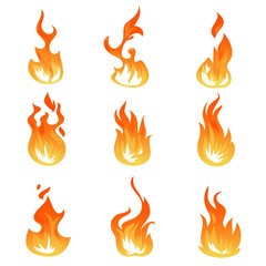 Cartoon fire flames vector set. Ignition light effect, flaming symbols