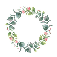 Watercolor vector round wreath with eucalyptus leaves and branches.