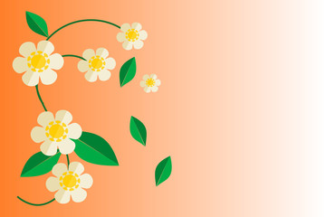 Flower on gradient orange background. Flat design vector. Picture with copy space for print, greeting card or graphic design.