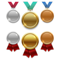 Champion gold, silver and bronze award medals with red and colors ribbons isolated on white background