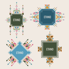 Colorful Ethno Logo Or Banners Design With Authentic Ornaments