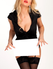 Sexy woman holding two blank paper sheets with a place for information