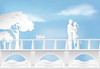 Couple standing and birds on the bridge paper art, Valentine concept paper craft style illustration