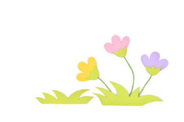 Meadow flower paper cut on white background - isolated