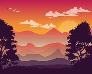 Colorful Vector Landscape Illustration