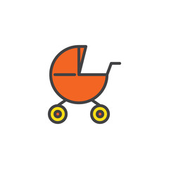 Baby carriages pram filled outline icon, line vector sign, linear colorful pictogram isolated on white. Stroller symbol, logo illustration. Pixel perfect vector graphics
