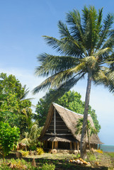 The Ngariy Men's Meetinghouse known as a faluw  on Yap island, Micronesia