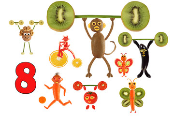 Learning to count. Cartoon figures of vegetables and fruits, as an illustration of mathematical education for children of preschool age.